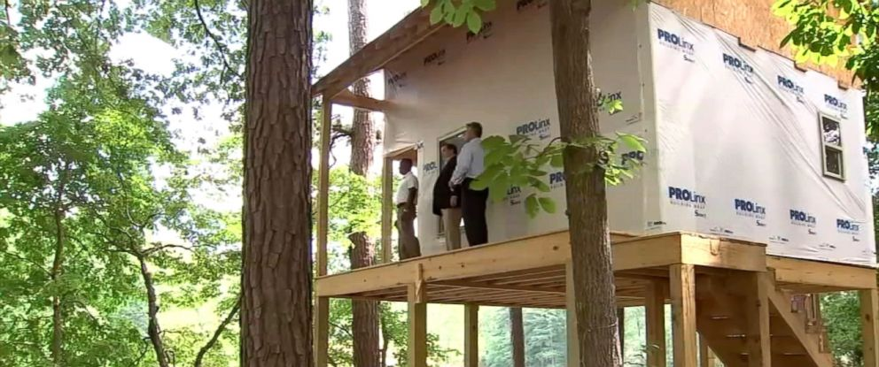 PHOTO: A large treehouse, being built by Mitch Howell, for his grandchildren to be able to play and have sleepovers, in Snellville, Georgia.