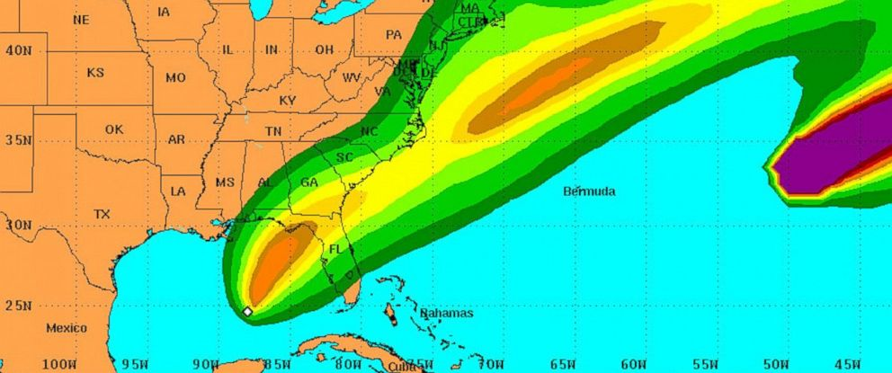 PHOTO: Forecast track for tropical storm Hermine, Aug. 31, 2016.