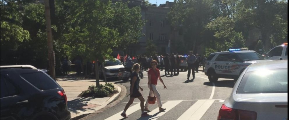 PHOTO: DC Fire and EMS workers arrive at Sheridan Circle in Northwest Washington, where nine people were injured.