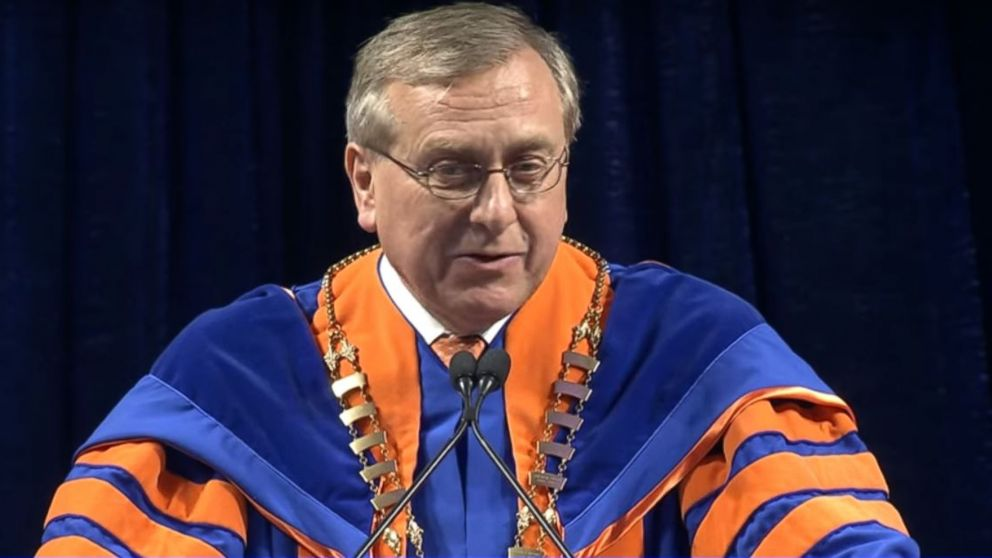 University of Florida President Kent Fuchs addresses students at one of the school's Spring 2018 commencement ceremonies.