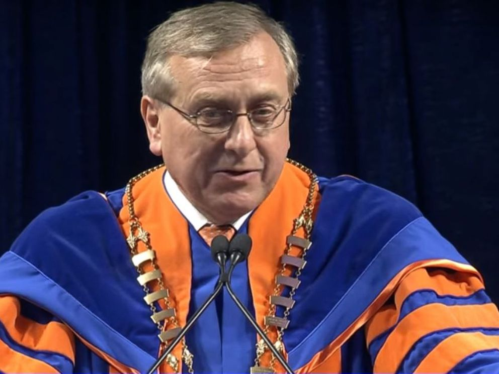 PHOTO: University of Florida President Kent Fuchs addresses students at one of the schools Spring 2018 commencement ceremonies.