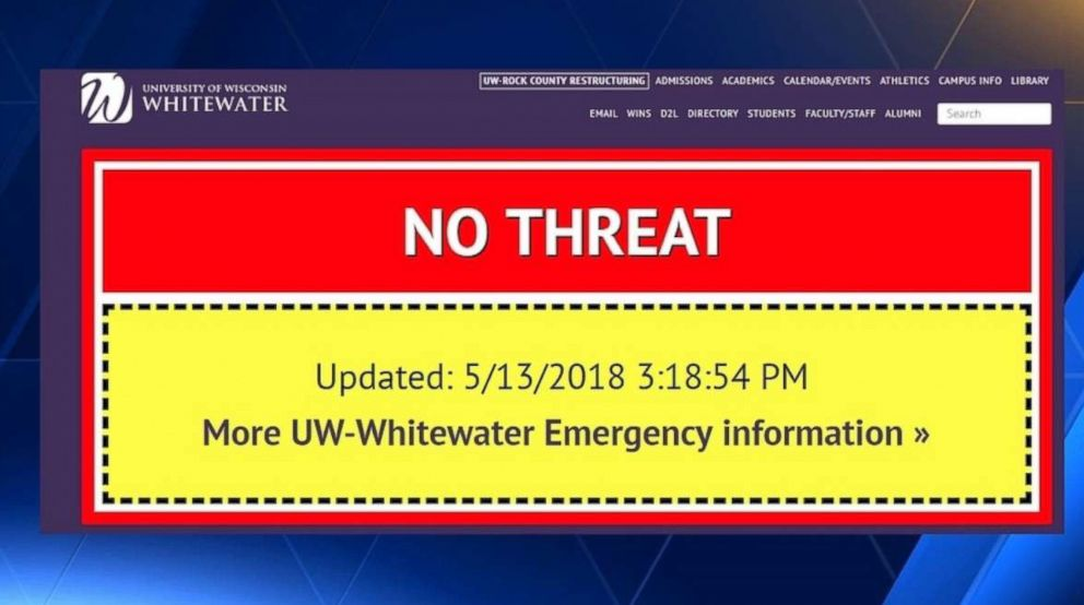 The University of Wisconsin gave students a fright on Sunday after it mistakenly activated the campus emergency fear system.