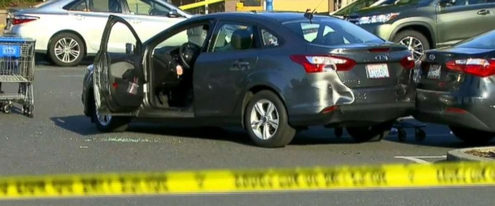Police investigate an attempted carjacking at a Walmart in Tumwater, Washington.