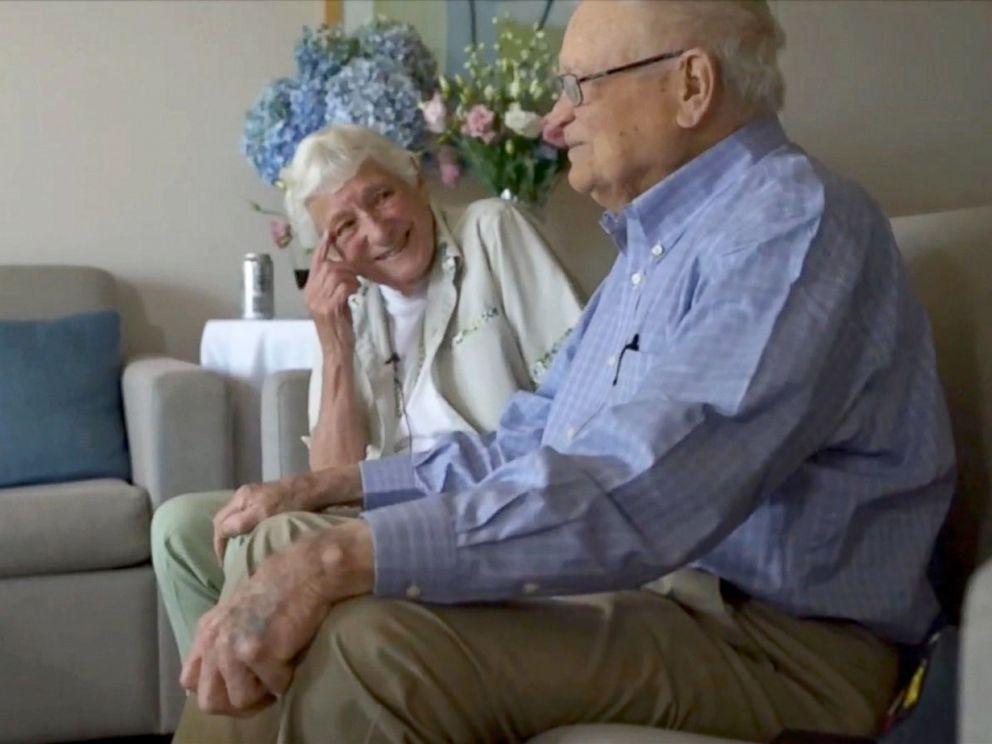 PHOTO: World War II veteran Norwood Thomas, 93, reunited with his wartime girlfriend Joyce Durrant Morris, 88, in Adelaide, Australia, Feb. 10, 2016.