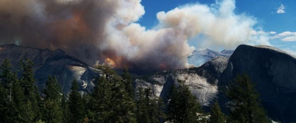 PHOTO: Smoke rises from a fire in Californias Yosemite National Park, Sept. 8, 2014.