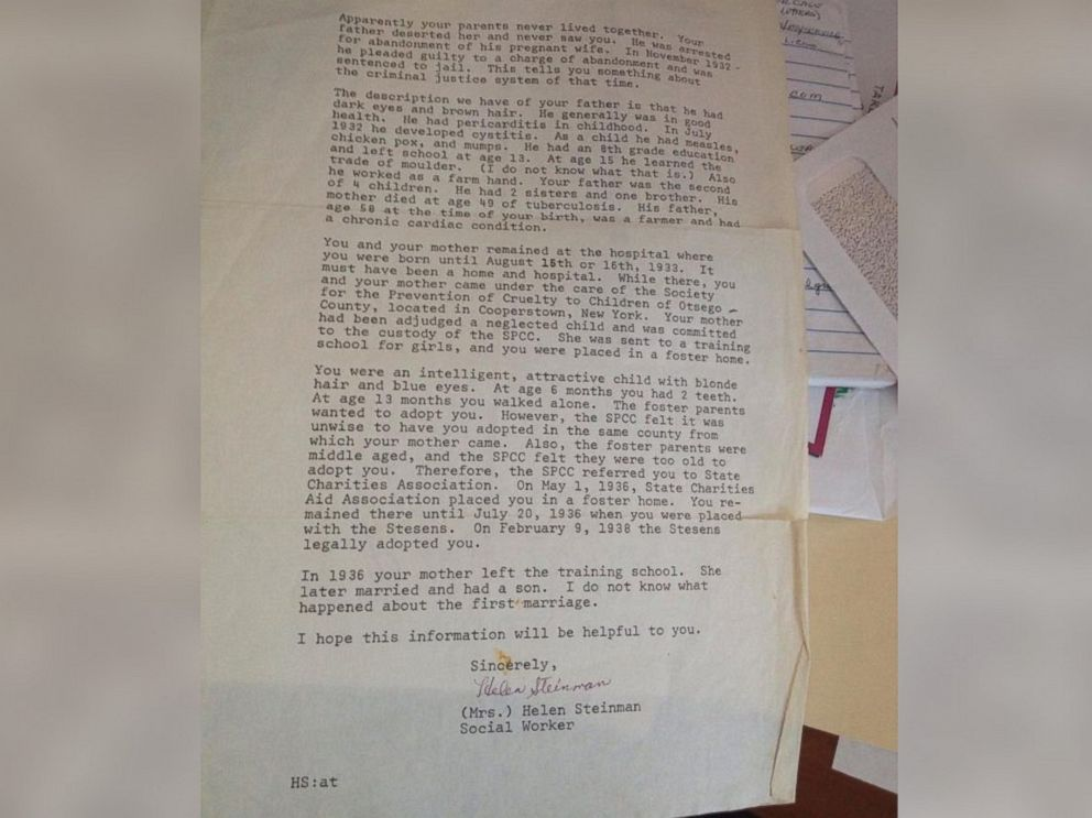 PHOTO: Betty (Eva May) Morrell received a letter from the adoption agency is 1983. Due to New York State laws, the social worker was unable to give any information that would lead Morrell to her biological family.