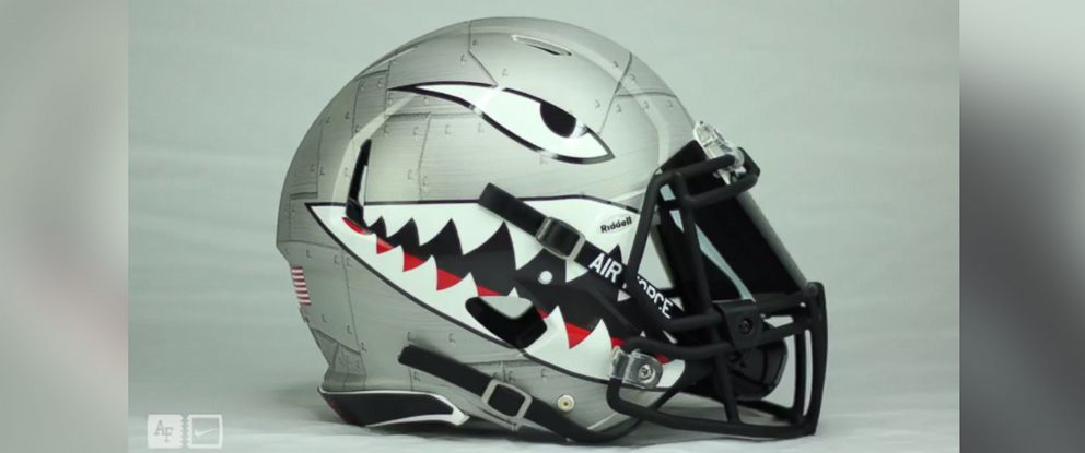 PHOTO: A screenshot from the Air Force Football video which debuted the teams new AIRPOWER Legacy Series Sharktooth helmet. The helmet will be worn when the team plays Georgia State on September 10, 2016.
