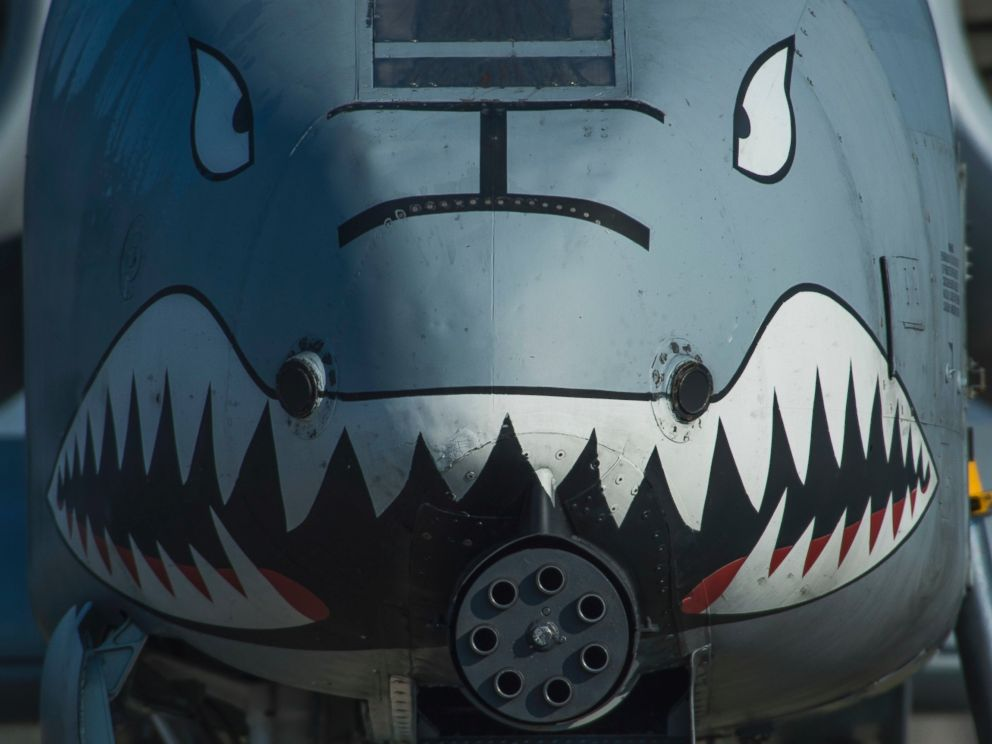PHOTO: The nose of a U.S. Air Force A-10 Thunderbolt II displays a painted set of eyes and teeth in support of Operation Atlantic Resolve at Graf Ignatievo, Bulgaria, March 18, 2016.