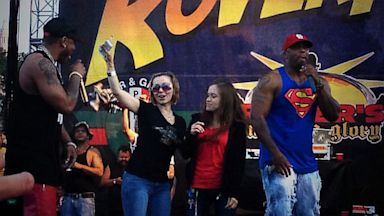 PHOTO: Amanda Berry and Nelly onstage at Roverfest