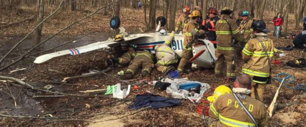 "PHOTO: Anne Arundel Fire posted this photo to Twitter on Feb. 8, 2018 with the caption, ""Tipton aircraft crash photo from Deputy Chief Hoglander."""