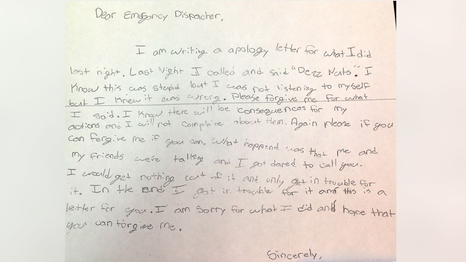 Georgia Boy Writes Apology Note to Police After 911 Prank Call - ABC