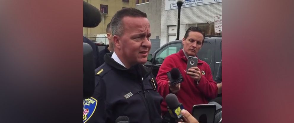 "PHOTO: A 13-year-old boy was shot in Baltimore after police said he was holding what ""looked like a firearm."" Police Commissioner Kevin Davis held a news conference in Baltimore, April 27, 2016."