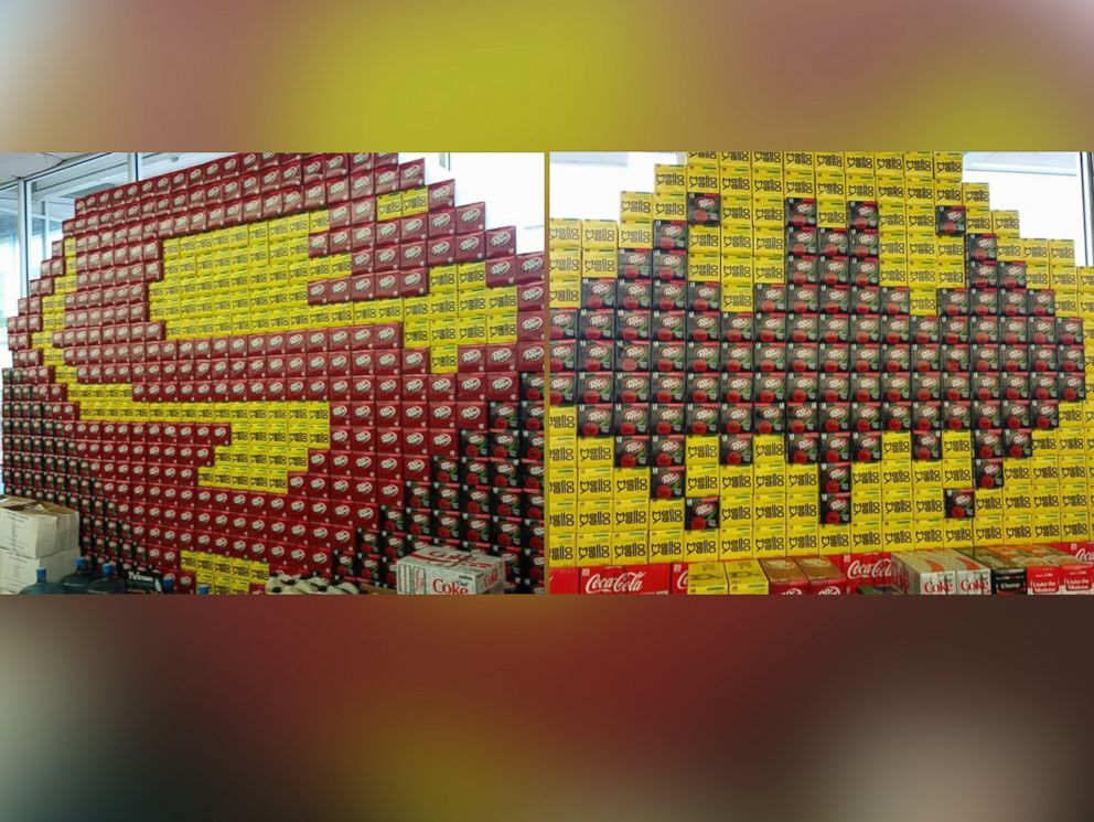 PHOTO: A Batman v Superman: Dawn of Justice-themed window display made from 12-pack boxes of soda is pictured here at Orange Street Food Farm in Missoula, Montana.