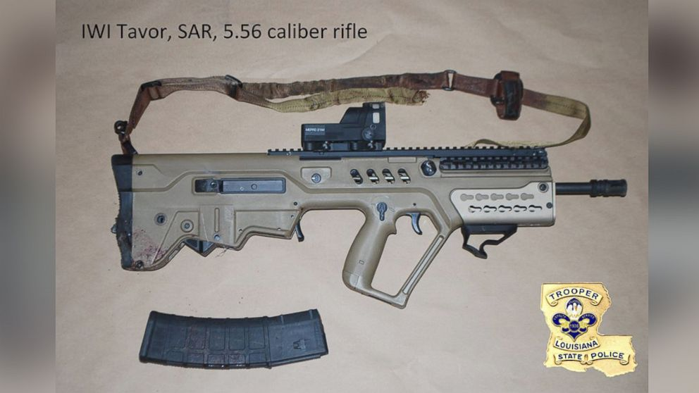 Louisiana State Police released this image, July 18, 2016, of the weapons recovered from suspected gunman Gavin Long.