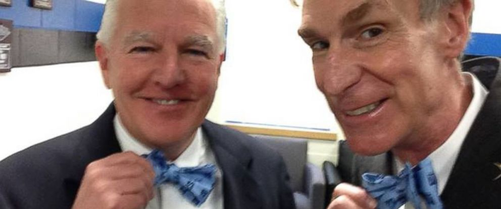 PHOTO: Chancellor Marty Meehan posted this photo of himself with Bill Nye on his Facebook. Bill Nye gave the commencement address at the University of Massachusetts Lowell on Saturday, May 17, 2014.