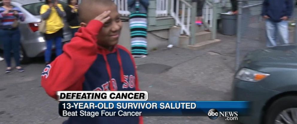 PHOTO:A 13-year-old Boston boy battling cancer was given the ultimate solider surprise Monday.