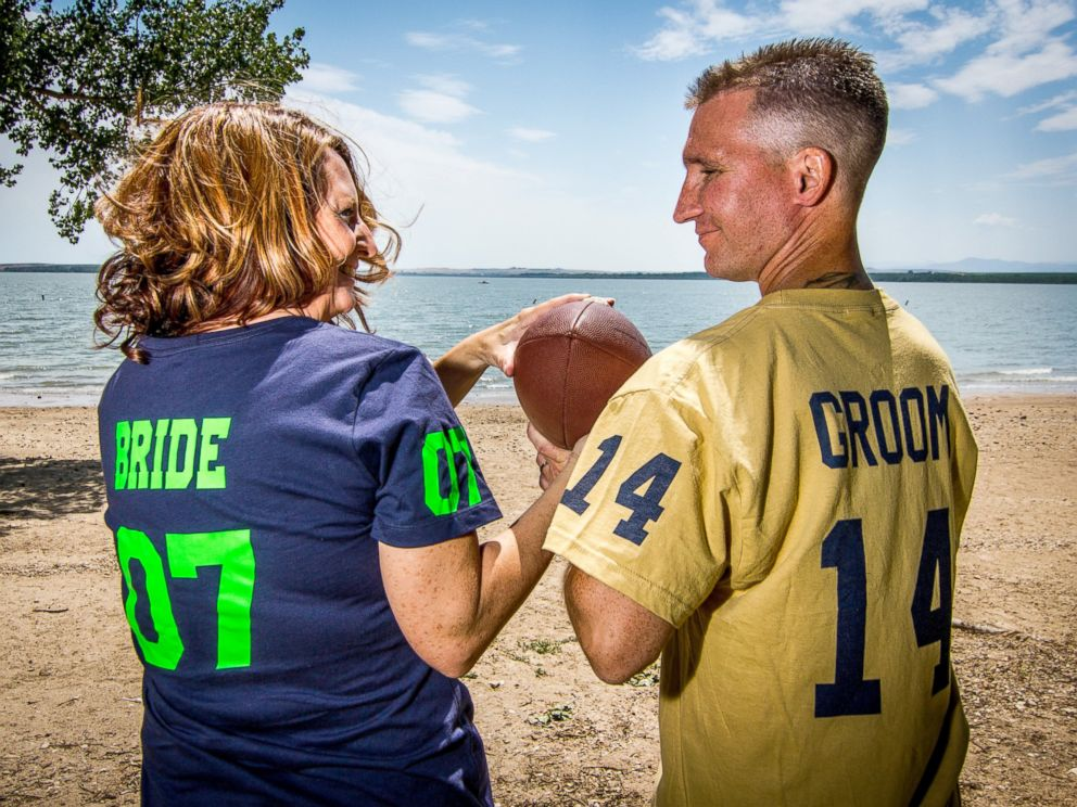 PHOTO: Chad Holbrook and his wife, Pam, had a St. Louis Rams and Seattle Seahawks-themed wedding in 2012 to showcase their football fanaticism.