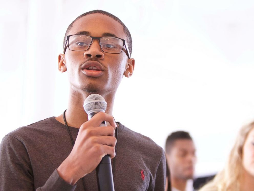 PHOTO: Chris Suggs, 15, speaks at the Global Teen Leaders/Three Dot Dash conference.