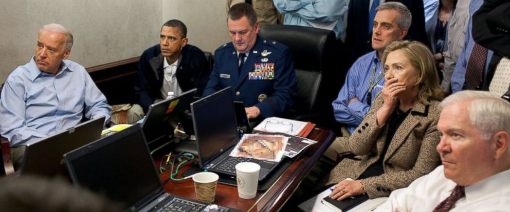 """PHOTO: The CIA posted this photo to Twitter on May 1, 2016 with the caption, """"@POTUS watches situation on ground in Abbottabad live in Situation Room."""""""