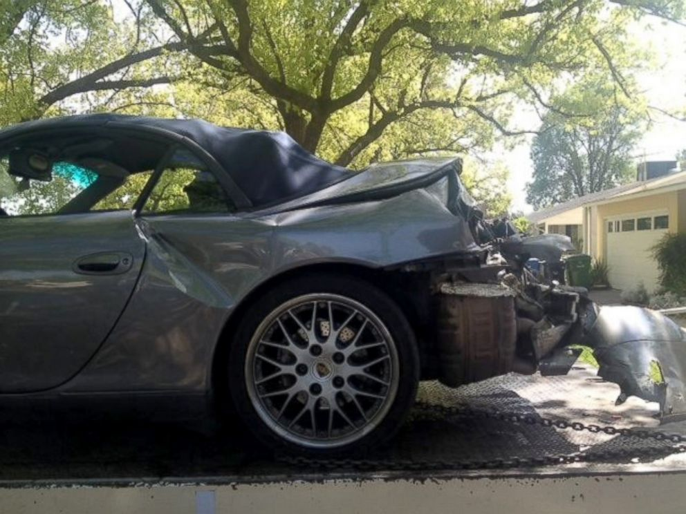 PHOTO: Jeffrey Johnsons 2001 Porsche 911 Carrera is pictured after the crash.
