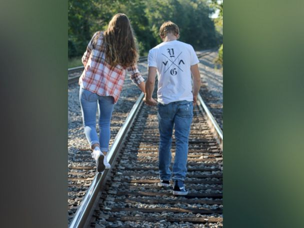 PHOTO: John DeReggi and his girlfriend, both 16, shown here walking on train tracks in Boyds, Md., on Sept. 14, 2015, moments before an Amtrak train came up behind them.