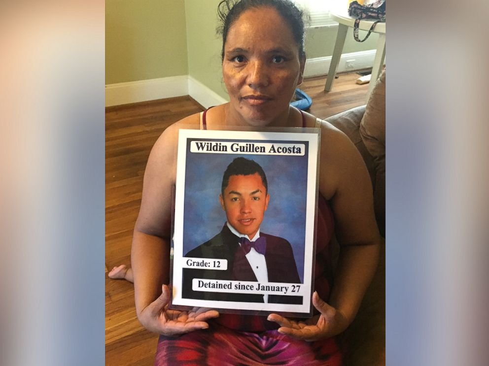 PHOTO: Dilsia Acosta holds a sign detailing her sons detention in a photo taken at her home in Durham, North Carolina, Aug. 11, 2016.