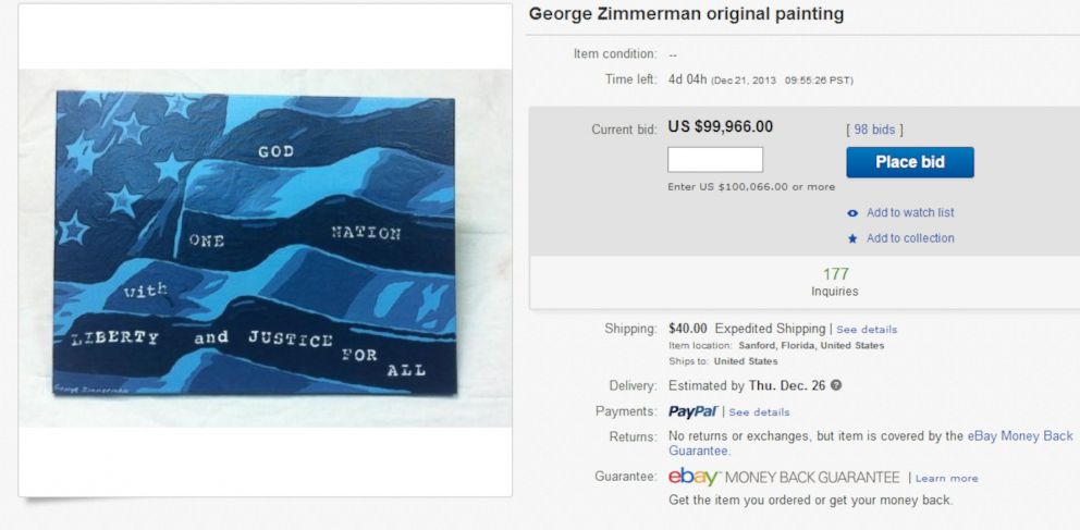 PHOTO: George Zimmermans original painting is being sold on ebay