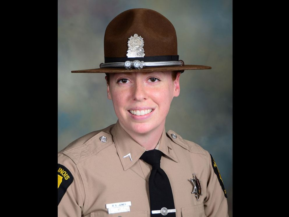 PHOTO: Illinois state trooper Brooke Jones-Story, 34, was conducting a traffic stop on the shoulder of U.S. Highway 20 on Thursday, March 28, 2019, when a truck crashed into her.
