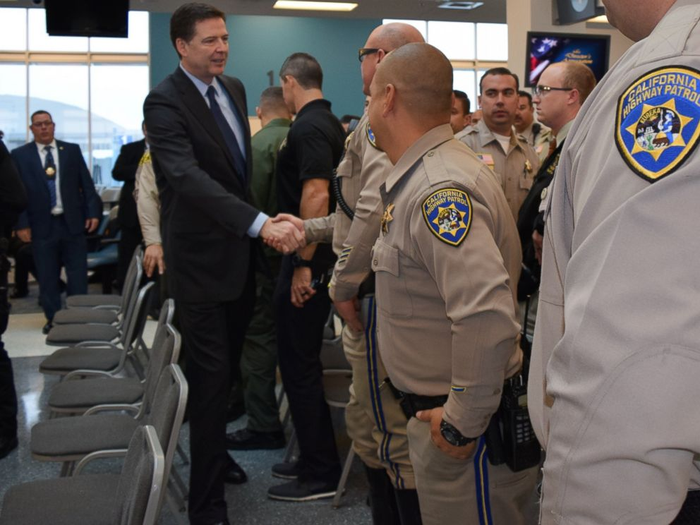 PHOTO: FBI Director James Comey and David Bowdich, Assistant Director in Charge of the FBIs Los Angeles Field Office, met with law enforcement who responded to the San Bernardino attack, Dec. 22, 2015.