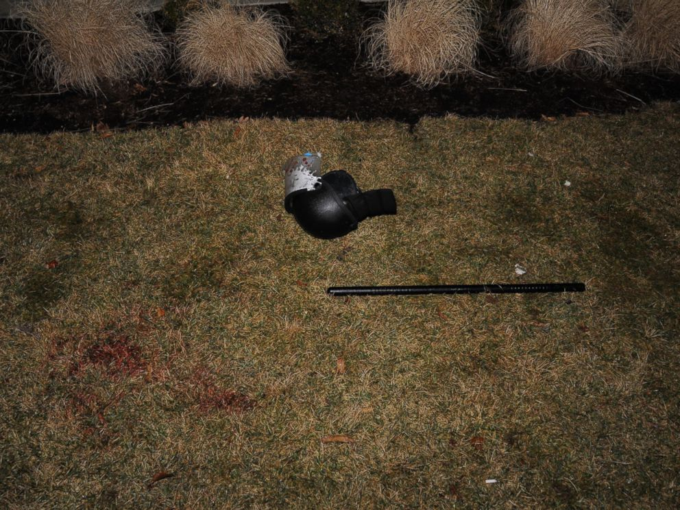 PHOTO: TheSt. Louis County Police posted images on their Facebook page of a bloodied police helmet on the ground after two police officers were shot outside of the Ferguson Police Department early March 12, 2015.