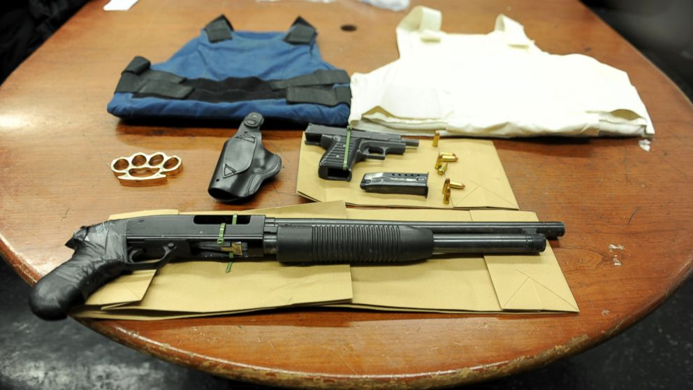 The NYPD said these weapons were confiscated from a suspect who was overheard making threats about killing police.