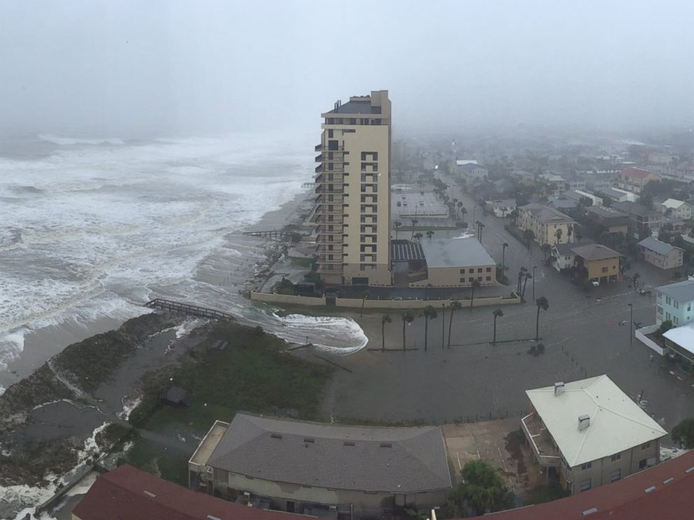 PHOTO: Flooding was visible at the beach in Jacksonville, Florida, Oct. 7, 2016.