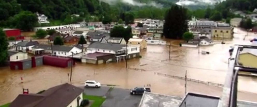 PHOTO: A photo posted to Facebook shows flood-ravaged Richwood, West Virginia, where several water rescues took place Thursday afternoon.