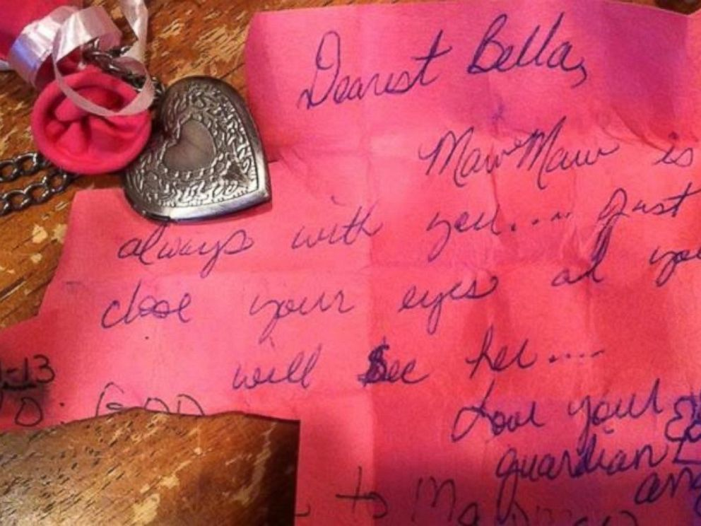 PHOTO: Bellas letter to her late grandmother was answered by a guardian angel, who also sent the 8-year-old a locket.