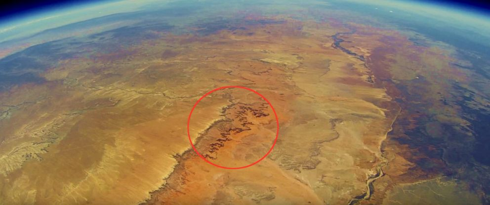 PHOTO: The Grand Canyon is pictured here in this photo from a GoPro launched into space by a group of Stanford students via a weather balloon on June 8, 2013.