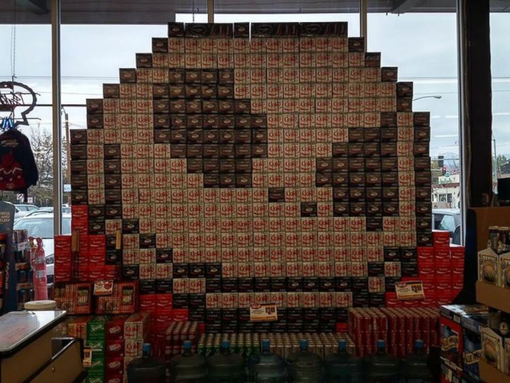 PHOTO: A The Nightmare Before Christmas-themed window display made from 12-pack boxes of soda is pictured here at Orange Street Food Farm in Missoula, Montana.