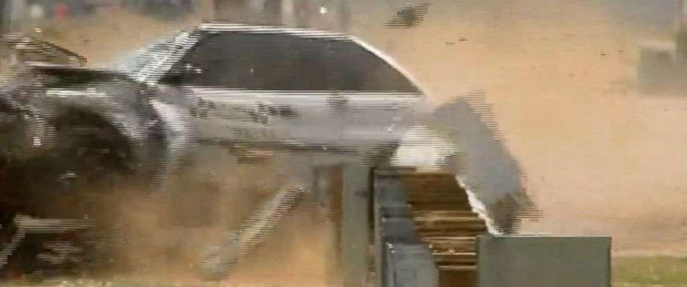 "PHOTO: Crash test video shown in a court case against Trinity Industries, a major guardrail maker, showed what the company called ""experimental"" version of the device failing."