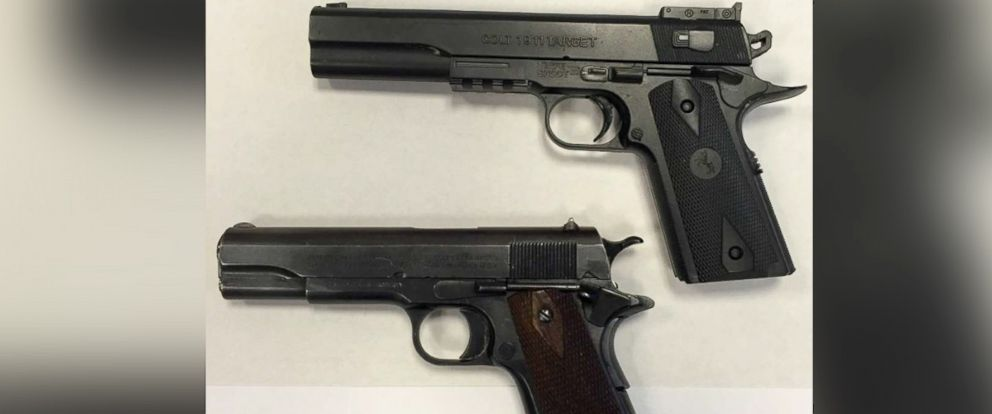 PHOTO: This photo, released by the Cuyahoga County Prosecutor Office, shows Tamir Rices fake gun, top, next to a real Colt M1911.