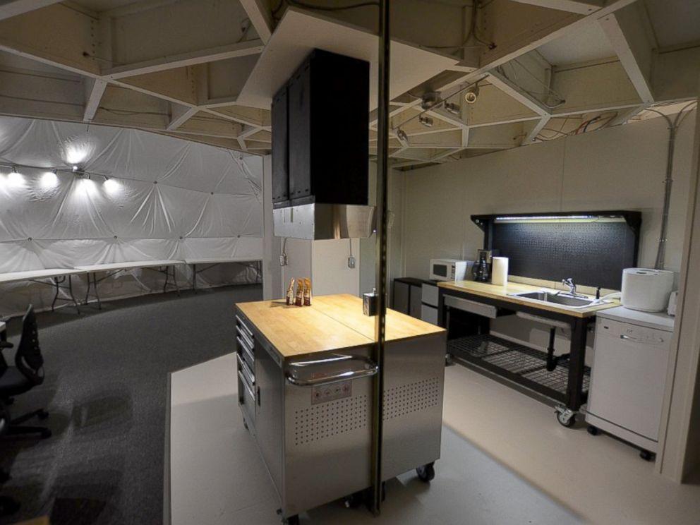 PHOTO: The HI-SEAS Mars Mission simulators kitchen at Mauna Loa volcano, in Hawaii.