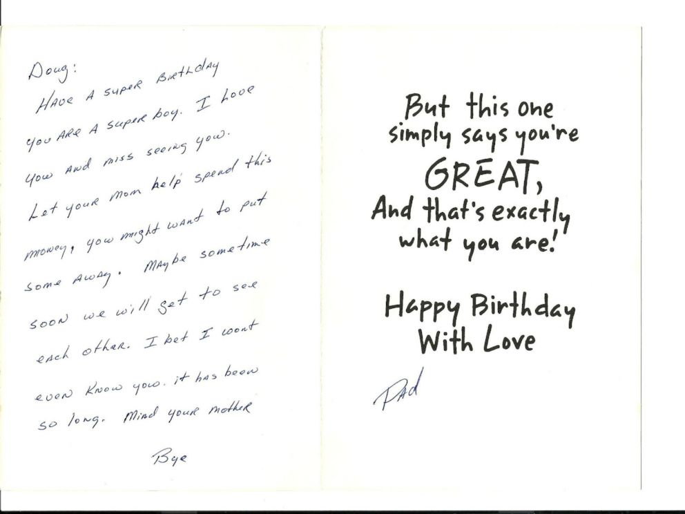 PHOTO: This birthday card from Richard Hoagland was the last words Doug Hoagland had from his father.