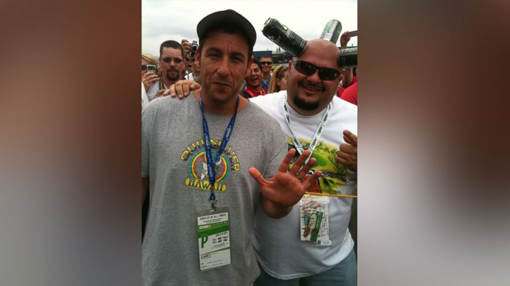 """Jamie """"Canhead"""" Keeton is pictured here with Adam Sandler."""