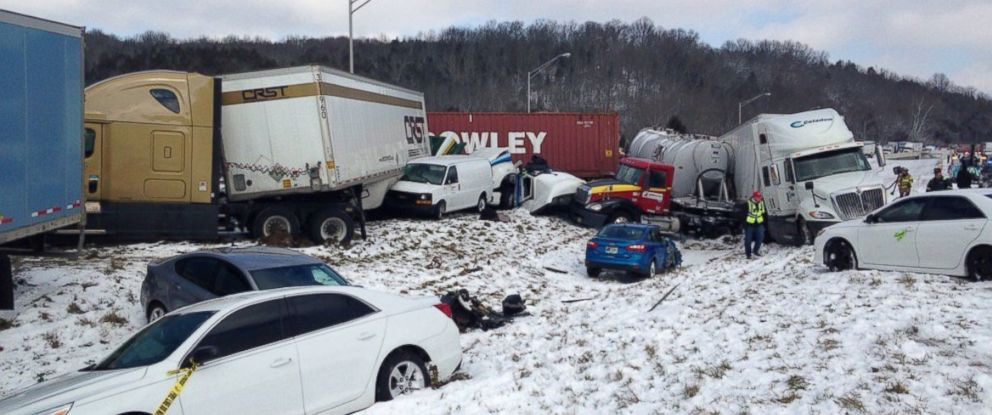 "PHOTO: Sgt. Stephen Wheeles posted this image of a crash near the Indiana-Ohio state line, Jan. 12, 2016, with this message: ""Close to 30 vehicles involved in I-74 crash."""