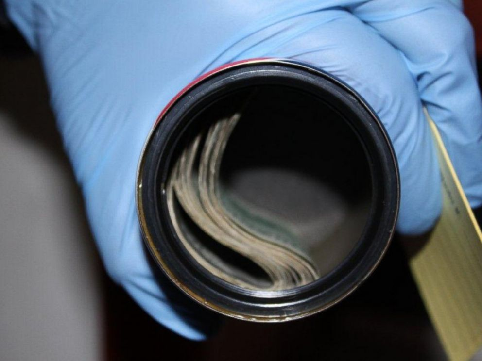 PHOTO: Stolen cash hidden inside a can by the Cabello family is pictured here.