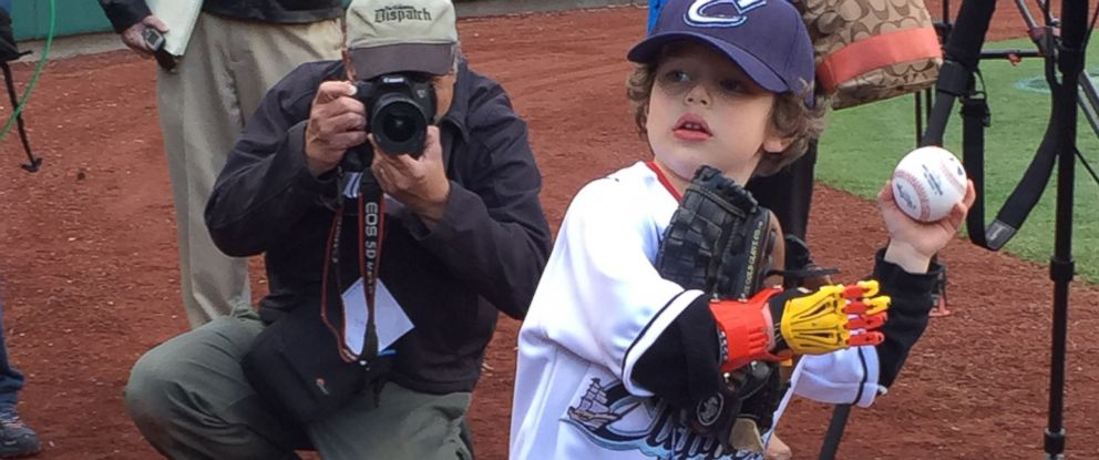 PHOTO: Five-year-old Jack Carder is pictured about to throw the first pitch at a Columbus Clippers game on April 21, 2015.