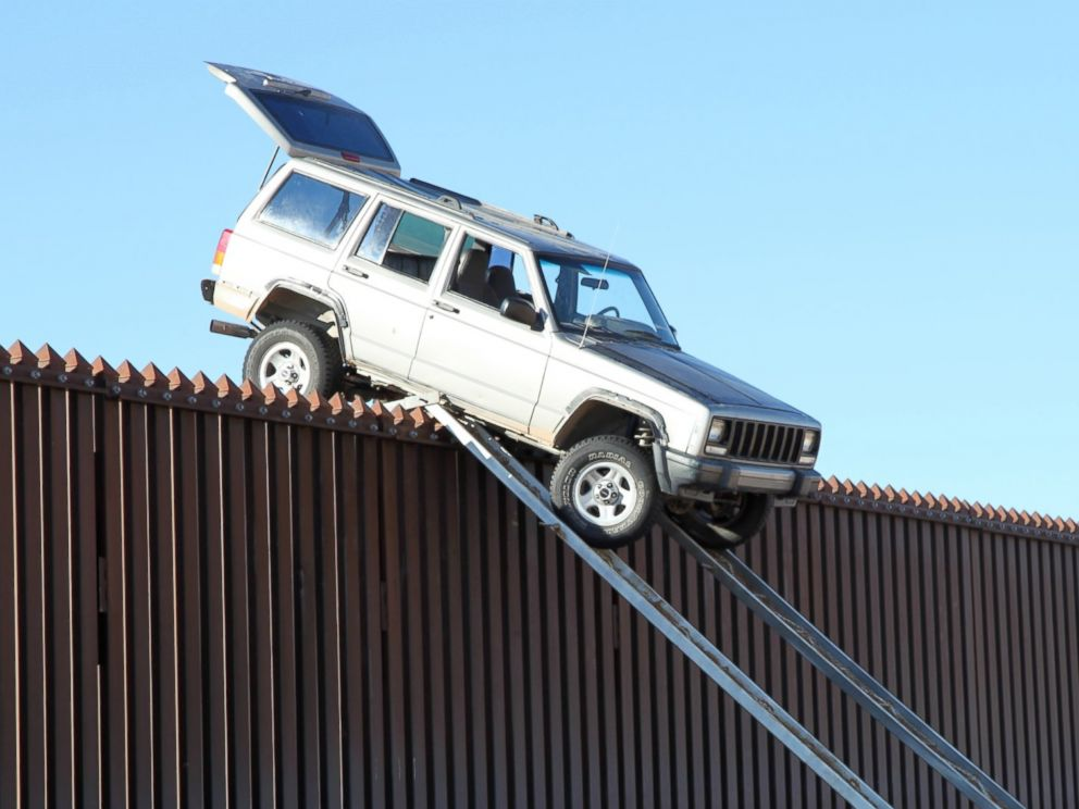 PHOTO: A jeep was stuck attempting to cross illegally over the U.S.-Mexican border fence.