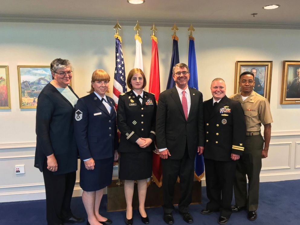 PHOTO: Army Intelligence Officer Captain Jennifer Peace and other transgender service members from SPARTA pose with Secretary of Defense Ash Carter on June 24, 2016.