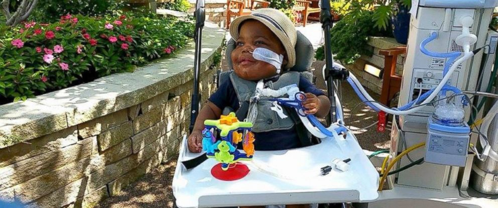PHOTO: KeAiden Proctor during this third trip ever outside in the St. Louis Childrens Hospital garden.