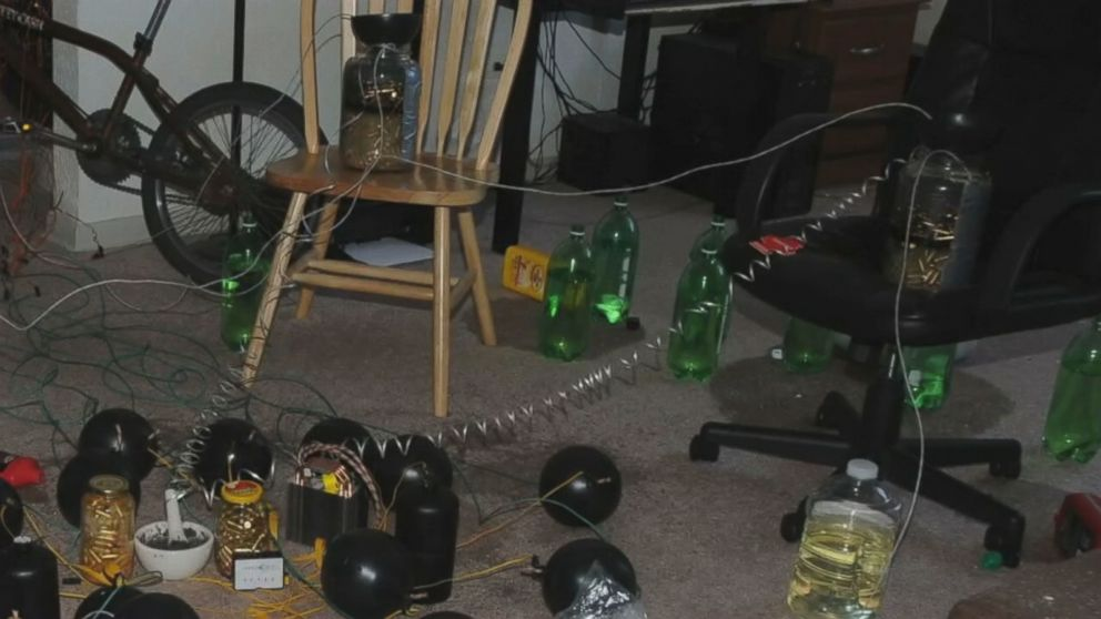 A still from unreleased video shows the Aurora movie theater gunman's booby-trapped apartment.