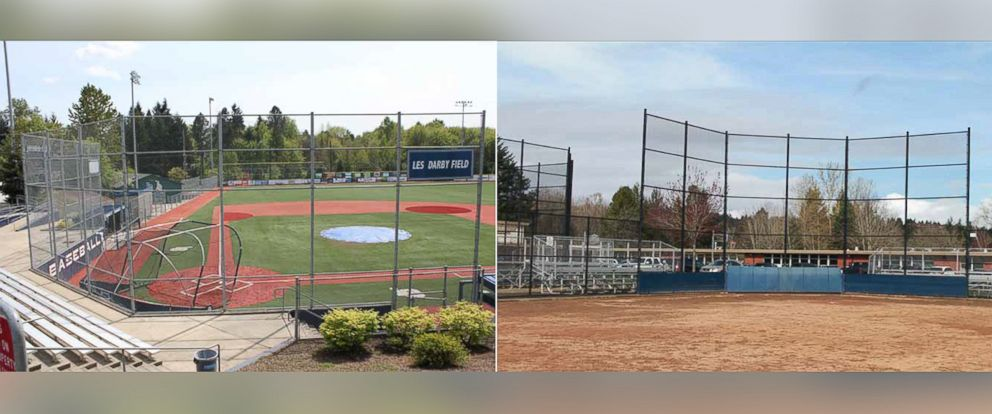 PHOTO: At Lake Oswego High School in Oregon, the boys baseball team is equipped with an artificial turf field, hitting facility, bull pen, press box and more, while the girls play on an off-campus dirt field.