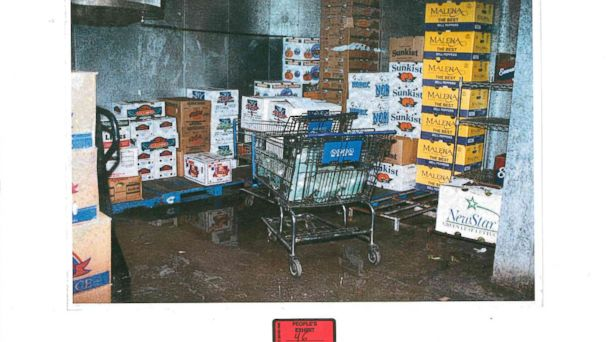 PHOTO: The inside of the Vals Foods produce cooler is seen here in this police evidence photo.
